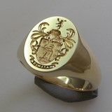 Coat of arms lion and archer seal engraved