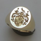 Coat of arms with bird crest signet ring