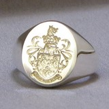 Coat of arms with hoggs head crest signet ring
