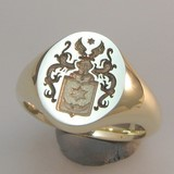 Coat of arms with angel wings crest signet ring